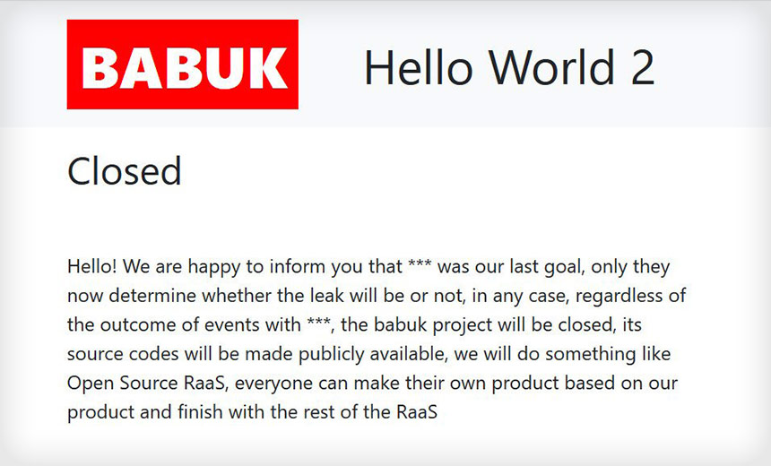 Babuk to Close Ransomware Operation After DC Police Attack
