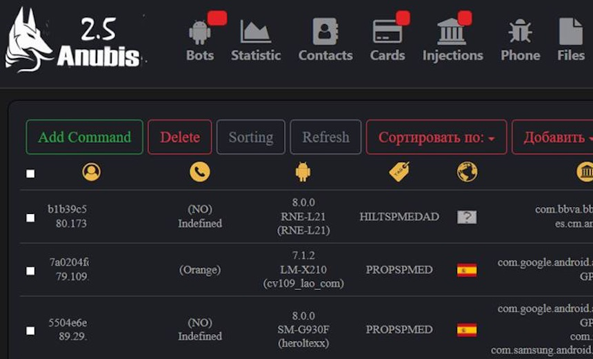 Botnet Watch: Anubis Mobile Malware Gets New Features