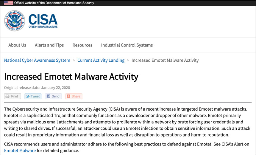 Emotet Malware Alert Sounded by US Cybersecurity Agency
