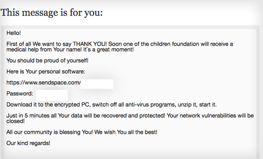 Ransomware Claims to Fund Child Cancer Treatments
