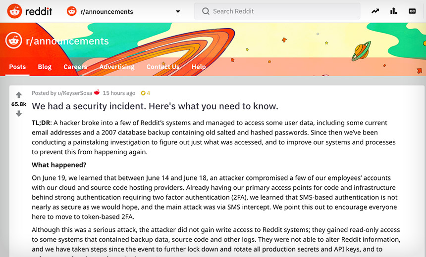 Reddit Says Attackers Bypassed SMS-Based Authentication