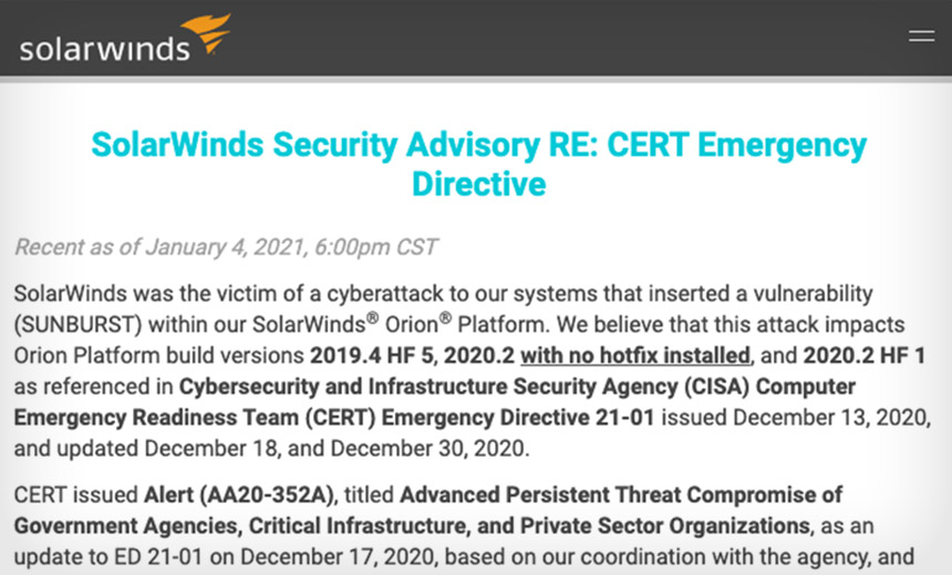 Severe SolarWinds Hacking: 250 Organizations Affected?